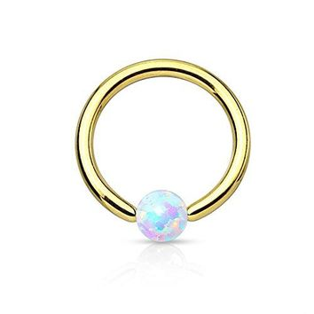 BodyJ4You Captive Ring Bead Goldtone Opal Septum Lip Eyebrow Ear Body Piercing Jewerlry 16G