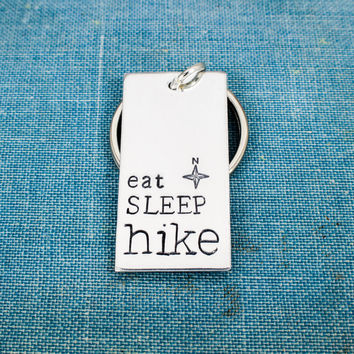 Eat Sleep Hike - Hiking - Compass - Outdoors - Nature - Aluminum Key Chain