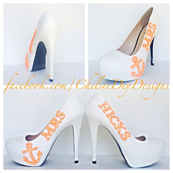 Mrs. Wedding Anchor Glitter High Heels