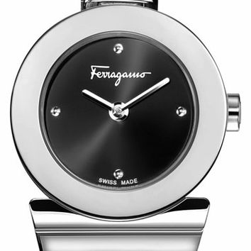 Women's Salvatore Ferragamo 'Gancino' Bracelet Watch, 25.5mm - Black/ Silver