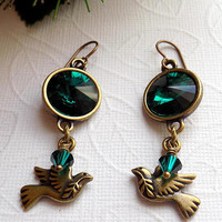 Emerald Crystal Dove Earrings Emerald  Bronze Rivoli Earrings Bronze Dove Earrings Christmas Jewelry Gift for Her