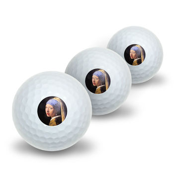 The girl with the pearl earring by Vermeer Novelty Golf Balls 3 Pack