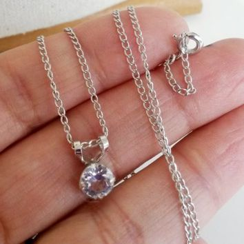 Vintage 7mm Rock Crystal Pendant Silver Tone Necklace Dainty Solitaire