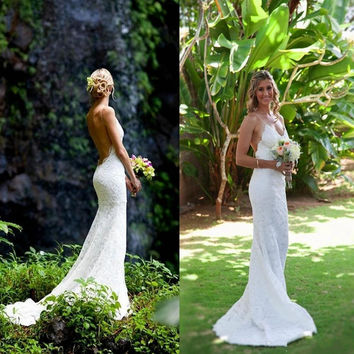 2016 Cheap Sexy Garden Beach White Mermaid Wedding Dresses Backless Lace Spaghetti Sheer Bridal Gowns Custom Made Wedding Dress