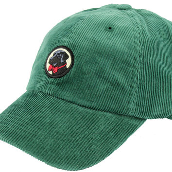 Corduroy Frat Hat in Hunter Green with Black Lab by Southern Proper