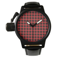 Connect the Dots Black and Red Poka Dot Design Watch