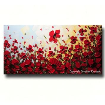 CUSTOM Art Abstract Painting Red Poppy Flowers Large Textured Landscape Wildflowers Poppies