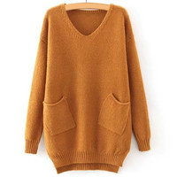 V Neck Long Sleeve Pure Color High-Low Sweater
