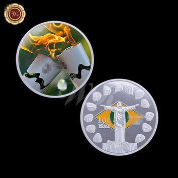 Brazil Olympic Coin Colorful Silver Coin Olympic Torch Souvenir Metal Gold Coin Friend Gifts