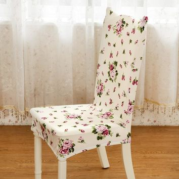 Floral Print Spandex Stretch Dining Chair Cover Home Dining Restaurant For Weddings Banquet Folding Hotel Chair Cover