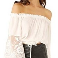 White Elastic Off The Shoulder Sheer Lace Long Bell Sleeve Tie Waist Crop Top