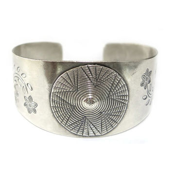 Handmade Sterling Silver wide Cuff Bracelet, Solar Floral Star Cuff Bracelet, Tribal Hippie Boho Statement Cuff wide Bracelet, adjustable