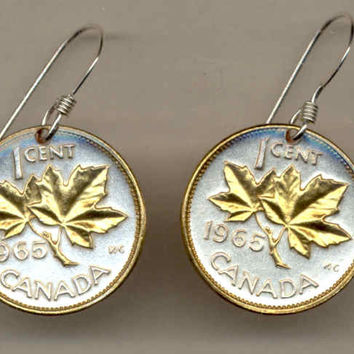 Gorgeous 2-Toned  Gold on Silver Canadian  Maple leaf  Coin Earrings