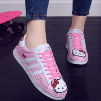 2016 Autumn Women Teens Fashion Casual Doraemon Hello Kitty Kitten Cartoon Korean Lacing Female Students Flats Boards Shoes G193