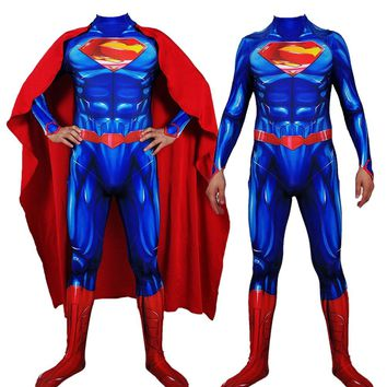 Free Shipping Halloween Costumes, Amazing Superman Costumes Blue And Red Spandex Superhero Cosplay Costume For adult and kids
