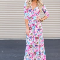 Floral Wrap Dress In Pink