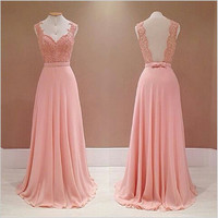 Backless Pink Chiffon Applique Prom Dresses