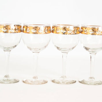 Vintage 22k Gold Culver Valencia Wine Glasses, Set of 4 Coctail Glasses, Green and Gold Diamonds, Mid Century Barware