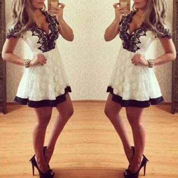 White Patchwork Black Lace Plunging Neckline Short Sleeve Mini Dress
