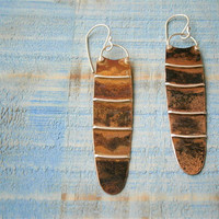 mixed metal pod earrings, metalwork, copper silver jewelry, dangle rustic earrings, artisan handmade by pepamoyano
