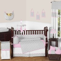 Chevron Girls Pink and Gray Baby Crib Bedding 9 Pc Zig Zag Set