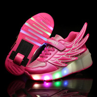 Hot WHeelys Children Roller Shoes with Wheels Kids Led Light up Wing Shoes Boys Girls Sneakers Glowing Luminous tenis infantil