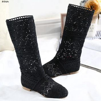 Women Crochet Knitted Flats Boots Plus Size Summer Shoes Mid Calf Boots
