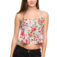 Floral Print Cropped Spaghetti Strap T-Back A-Line Cami Tank Top