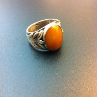 Beautiful sterling silver and amber ring-Bohemian ring- Man statement ring- Vintage ring- Bohemian jewelry-Greek art