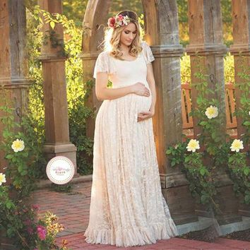 Gravida Maternity Photography Props Lace Dresses Off White Maternity Maxi Dress Mama Gown Large Size Pregnant Woman Dress