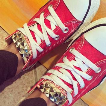 CREYONB Custom Studded Red Converse All Star - Chuck Taylor Shoes - ALL SIZES & COLORS!
