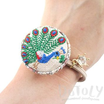 Embroidered Peacock Bird Floral Print Button Hair Tie For Animal Lovers