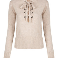 Beige V-neck Tie Up Front Knitted Sweater