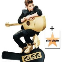 "*FAN PACK* - Justin Bieber ""Believe"" playing acoustic golden guitar - SPECIAL EDITION Lifesize Cardboard Cutout / Standee - INCLUDES 8X10 (25X20CM) STAR PHOTO - FAN PACK #373"