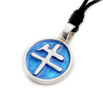 Chinese Text Silver Pewter Charm Necklace Pendant Jewelry