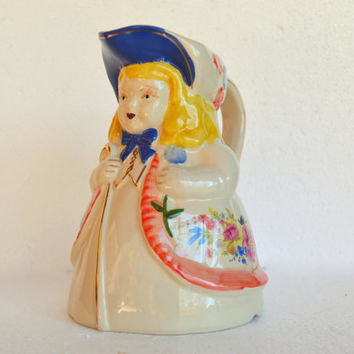 Vintage Shawnee Pottery Pitcher, Little Bo Peep Milk Pitcher,  Shepherdess  Shawnee Pitcher - Hand Painted Pottery