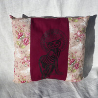 Skele Kitty or Smiley Skull Decorative Pillow Your Choice of One