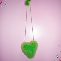 Heart Shaped Neon Green Feather Bag