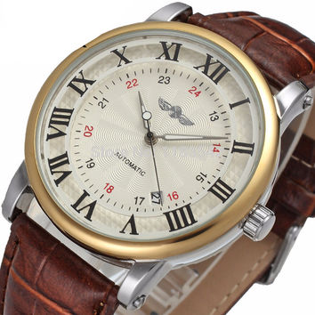 Automatic dress watch with Leather Strap offset date