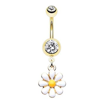 WILDKLASS Golden One Daisy at a Time Dangle Belly Button Ring