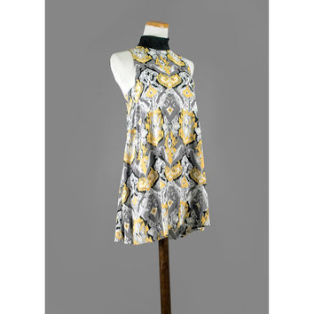 Abstract Print Mini Dress / Tunic Babydoll Dress / Grey, Black, Yellow and White / One Size Fits Most