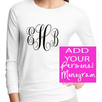 Popular Women's Fancy Monogram Long Sleeved Crew Neck T-Shirt Personalized in White or Black - Comes in Girls Sizes Also