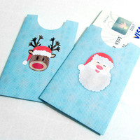 Digital Christmas Gift Card Sleeve Envelopes, 2.25 x 3.5, blue mini template, santa & reindeer heads, snowflake background, pdf instructions