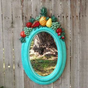 Shabby Chic Mirror, Tiffany Blue, Aqua, Oval, Fruit, Upcycled Vintage, Ornate, Homco, Painted Mirror