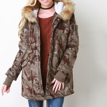 Camouflage Fur Trim Hooded Parka Jacket