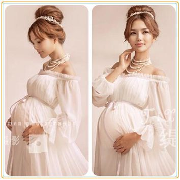 White Maternity Gown Lace Dress Photography Props Fancy Pregnancy Maternity Photo Shoot Long Dress Nightdress 2016 New Arrival