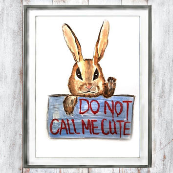 Nursery wall arts Nursery Decor Watercolor angry rabbit gift children room watercolor painting arts wall decor home decor digital printable