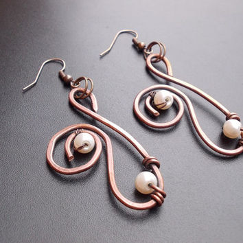 Copper earrings FREE SHIPPING WORLDWIDE Jewelry pearl Wire Wrapped Hammered boho bridal wedding antique vintage handmade  steampunk bohemian