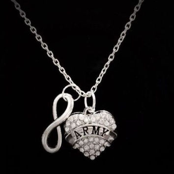 Infinity Crystal Army Military Soldier Wife Girlfriend Gift Necklace