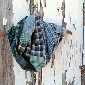 upcycled infinity scarf blue green olive colorblock plaid 100% woven cotton, unisex fall accessory